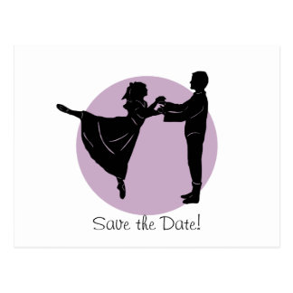 Dancing Bride and Groom Save the Date Post Card
