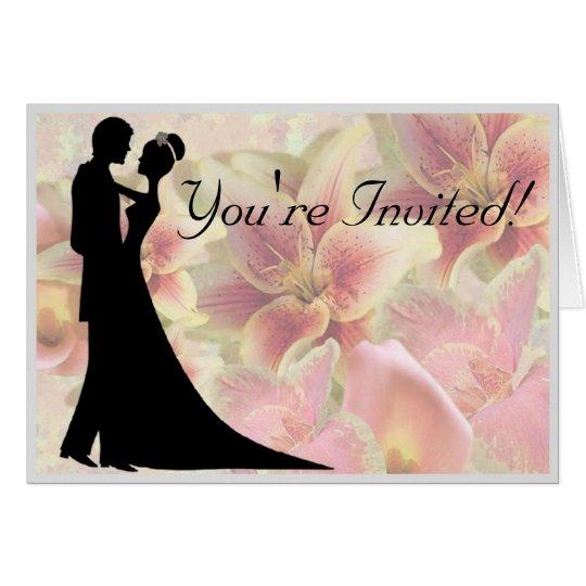 Dancing Bride & Groom Floral Card