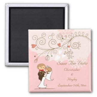 Dancing Bride & Groom Save The Date Wedding Fridge Magnet