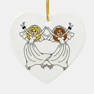 Dancing Brides Double-Sided Heart Ceramic Christmas Ornament