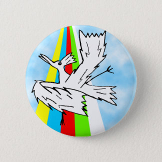 Dancing Brolly Bird on a Rainbow Pinback Button