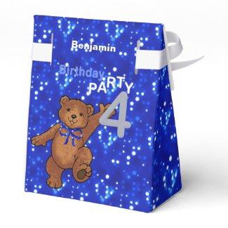 Dancing Brown Teddy Bear 4th Birthday Party Favor Box