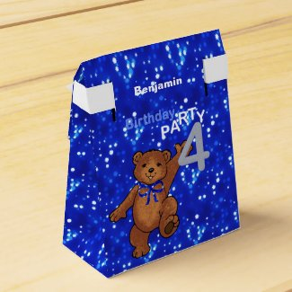 Dancing Brown Teddy Bear 4th Birthday Party Favor Box