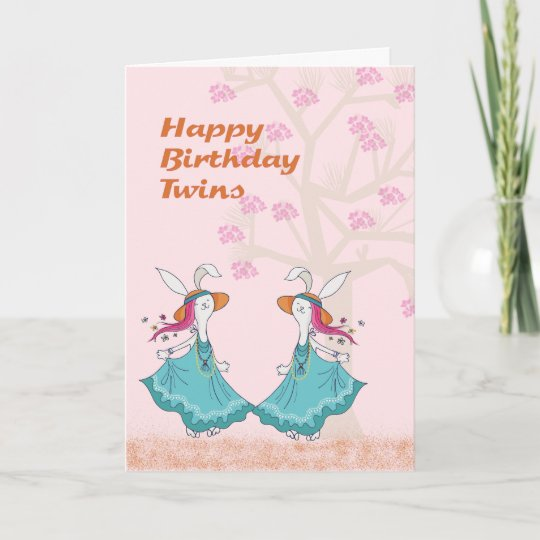Dancing Bunnies For A Young Twins Birthday Card Zazzle