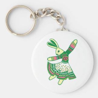 Dancing Bunny Basic Round Button Keychain