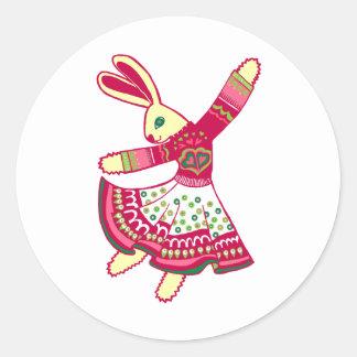 Dancing Bunny Classic Round Sticker