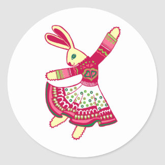 Dancing Bunny Classic Round Sticker