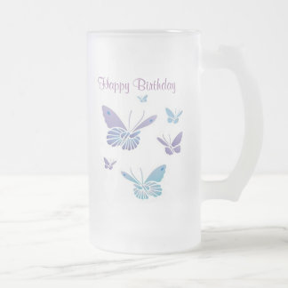 Dancing Butterflies, Happy Birthday Frosted Glass Beer Mug