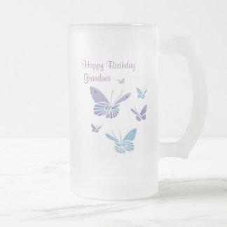 Dancing Butterflies,Happy Birthday Grandma 16 Oz Frosted Glass Beer Mug