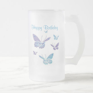 Dancing Butterflies, Happy Birthday 16 Oz Frosted Glass Beer Mug