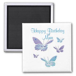 Dancing Butterflies, Happy Birthday Mum 2 Inch Square Magnet