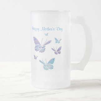 Dancing Butterflies, Happy Mother's Day Frosted Glass Beer Mug