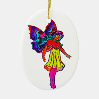 Dancing Butterfly Girls Double-Sided Oval Ceramic Christmas Ornament