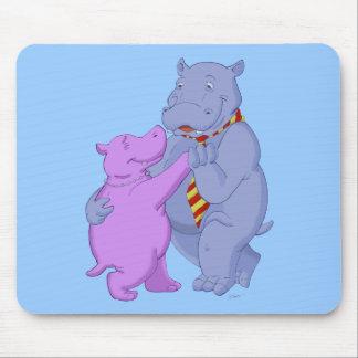 Dancing Cartoon Hippo Tango Mouse Pad