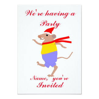 Dancing cartoon mouse. Christmas Party Invitations