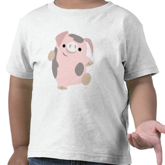 Dancing Cartoon Pig Children apparel Tee Shirt