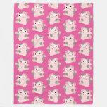 Dancing Cartoon Pig repeat Pattern Fleece Blanket