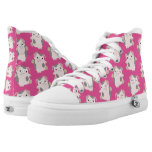 Dancing Cartoon Pig Repeat Pattern High Top Shoes Printed Shoes