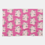 Dancing Cartoon Pig Repeat Pattern Kitchen Towel