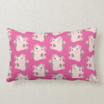 Dancing Cartoon Pig Repeat Pattern Lumbar Pillow