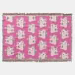 Dancing Cartoon Pig Repeat Pattern Throw Blanket