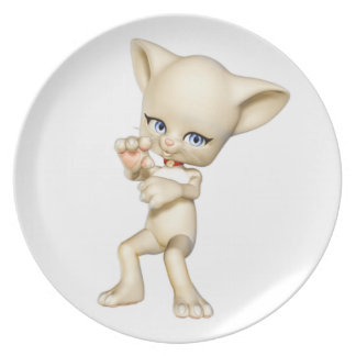 Dancing Cat Melamine Plate