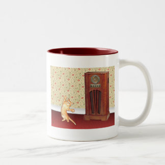 Dancing Cat Two-Tone Coffee Mug