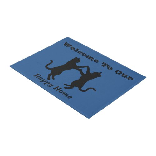 Dancing Cat Silhouette Welcome Doormat