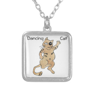 Dancing Cat Square Necklace