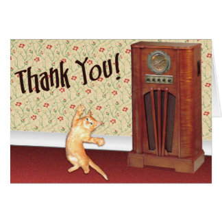 Dancing cat thank you greeting card