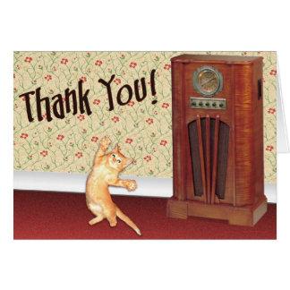 Dancing cat thank you greeting card