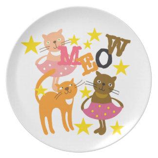 Dancing Cats Dinner Plate