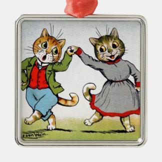 Dancing Cats Metal Ornament