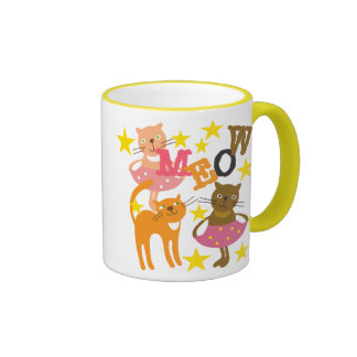 Dancing Cats Ringer Coffee Mug