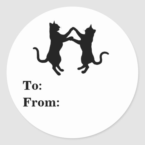 Dancing Cats Silhouettes Classic Round Sticker