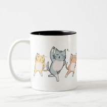 Dancing Cats Two-Tone Coffee Mug