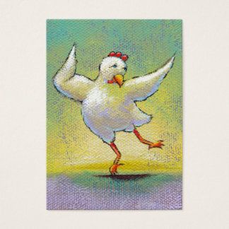 Dancing chicken fun art cute colorful happy dancer business card