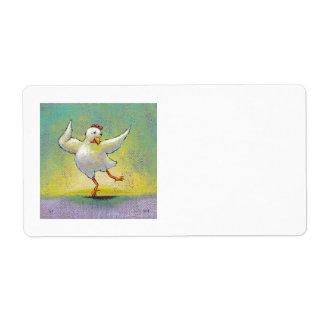 Dancing chicken fun art cute colorful happy dancer label