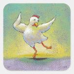 Dancing chicken fun art cute colorful happy dancer square sticker