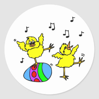 Dancing chickens classic round sticker