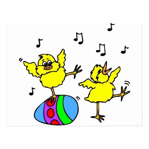 Dancing chickens postcard
