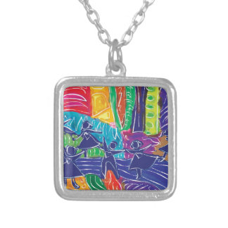 Dancing children silver plated necklace