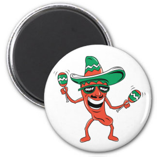 Dancing Chili Pepper 2 Inch Round Magnet