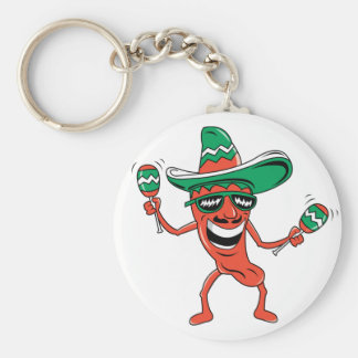 Dancing Chili Pepper Basic Round Button Keychain