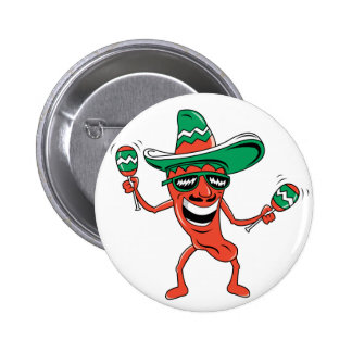 Dancing Chili Pepper Pinback Buttons