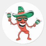 Dancing Chili Pepper Classic Round Sticker