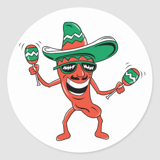Dancing Chili Pepper Classic Round Sticker