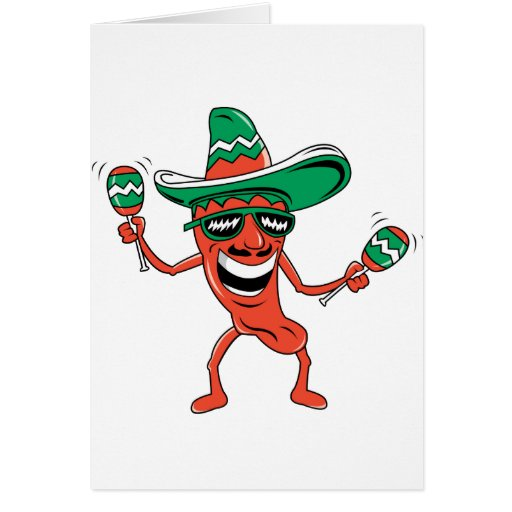 Dancing Chili Pepper Greeting Card