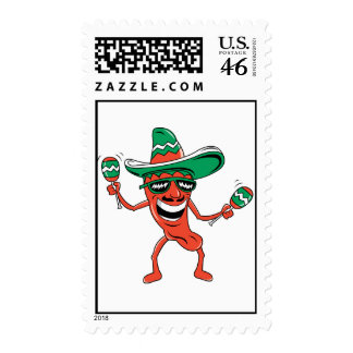 Dancing Chili Pepper Postage Stamp