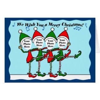 Dancing Christmas Elves Greeting Card